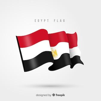 Bandera de egipto ondeando en diseño plano