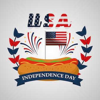 Bandera de fuegos artificiales de perro caliente día de la independencia americana