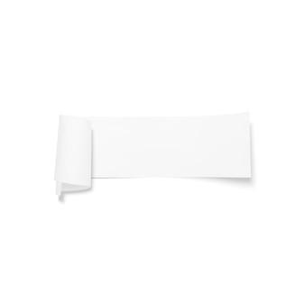 Bandera de papel gris, cinta con sombra aislada en blanco.