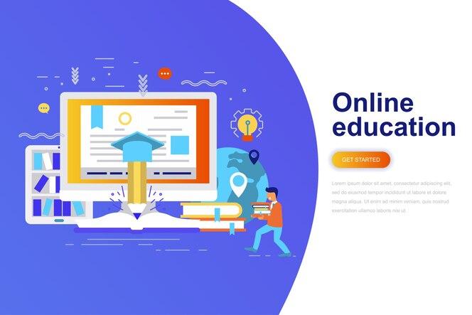 Bandera de web de concepto plano moderno de educación en línea
