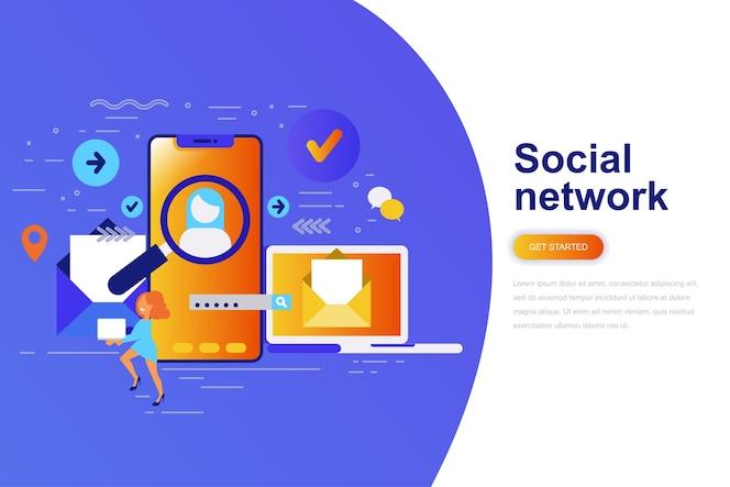 Bandera de web de concepto plano moderno de red social