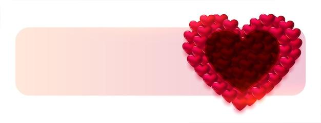 Bandera decorativa del día de san valentín de corazones 3d