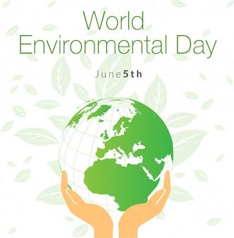 Bandera del día mundial del medio ambiente con globo