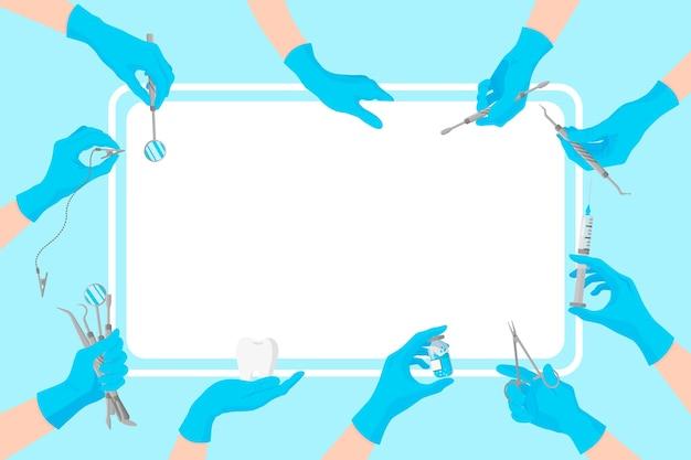 Bandera dental limpia de dibujos animados con la imagen de las manos de los médicos en guantes azules que sostienen herramientas dentales alrededor
