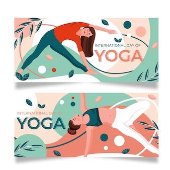 Bandera del día internacional del equilibrio corporal del yoga
