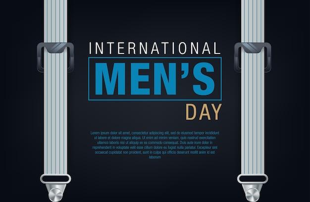 Bandera del día internacional de los hombres. letras del día de los hombres
