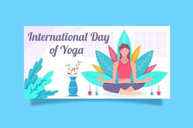 Bandera del día internacional del yoga con mujer