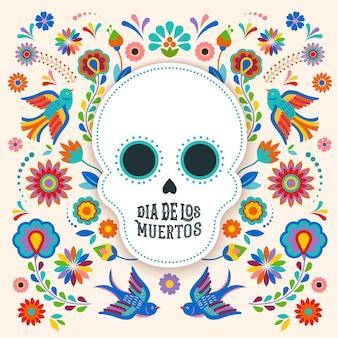 Bandera del día de los muertos dia de los moertos con coloridas flores mexicanas fiesta cartel navideño fiesta