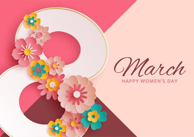 Bandera del día de la mujer con flores de papel.