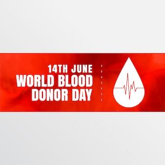 Bandera del día mundial de los donantes de sangre del 14 de junio.