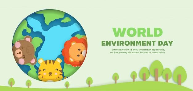 Bandera del día mundial del medio ambiente con animales lindos en estilo de corte de papel.