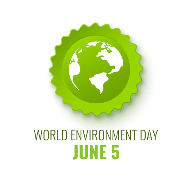 Bandera del día mundial del medio ambiente concepto ecológico mapa mundial en insignia verde