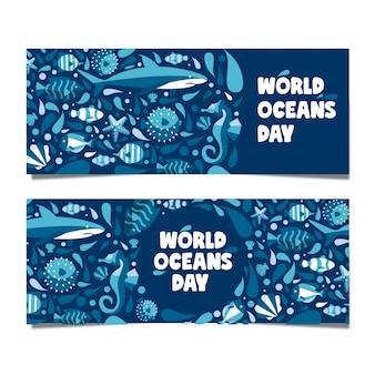 Bandera del día mundial del océano con mandíbulas ballena estrellas camarones caballito de mar estilo plano moderno