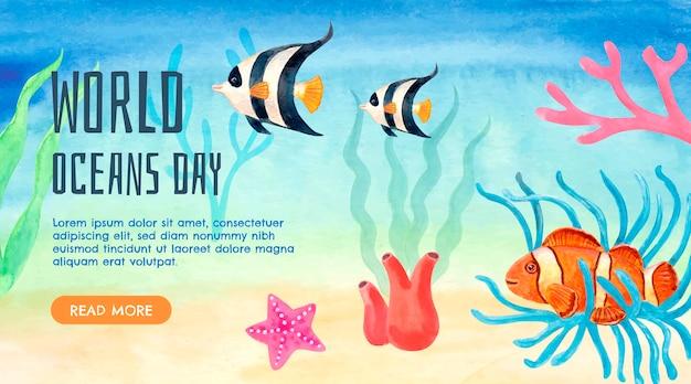 Bandera del día mundial de los océanos en acuarela pintada a mano