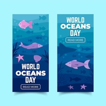 Bandera del día mundial de los océanos de diseño plano