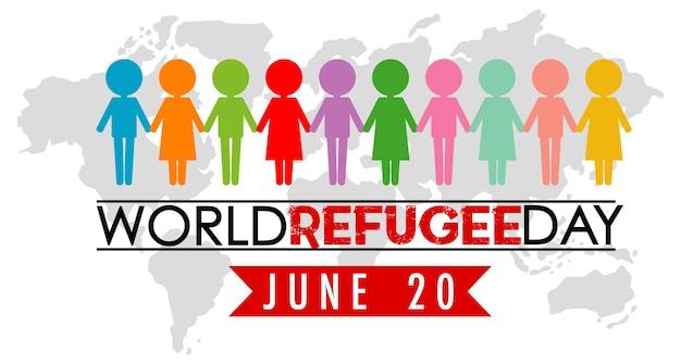 Bandera del día mundial de los refugiados con personas de diferentes colores firman en el fondo del mapa del mundo
