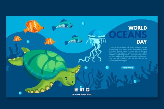 Bandera del día de los océanos de tortugas y peces