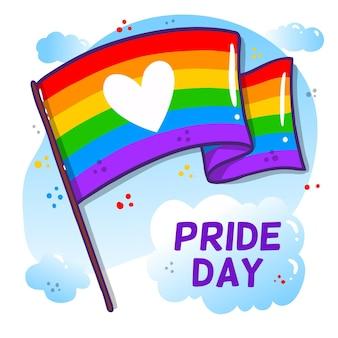 Bandera del día del orgullo con corazón y nubes
