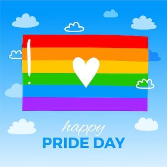 Bandera del día del orgullo con corazón y saludo