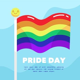 Bandera del día del orgullo con fondo de cara sonriente