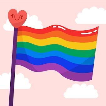 Bandera del día del orgullo con fondo de corazón