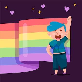 Bandera del día del orgullo con persona y corazones