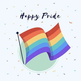 Bandera del día del orgullo con saludo