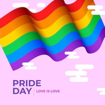 Bandera del día del orgullo sobre fondo rosa