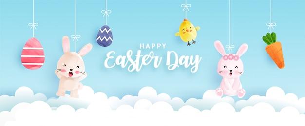 Bandera del día de pascua con lindos pollos, conejos y huevos de pascua en estilo de color de agua.