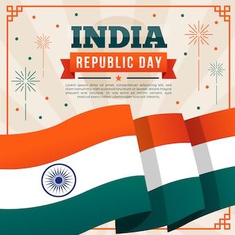 Bandera del día de la república india y fuegos artificiales