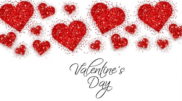 Bandera del día de san valentín corazones brillo rojo