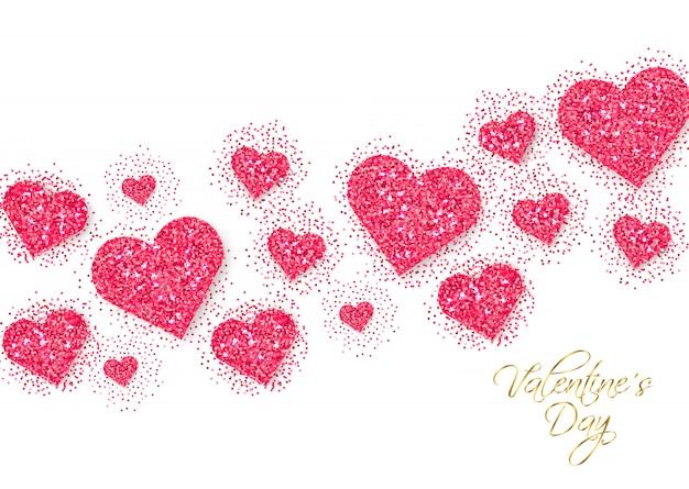 Bandera del día de san valentín corazones brillo rosa