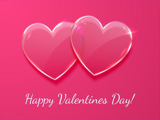 Bandera del día de san valentín, plantilla de cartel. 2 corazón de cristal de vector realista sobre fondo rosa con inscripción