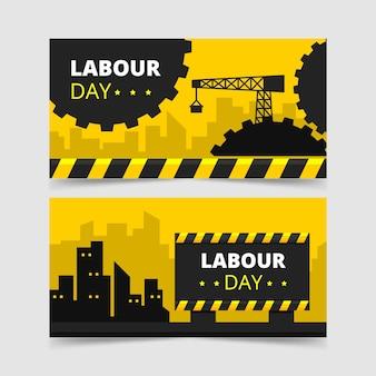 Bandera del día del trabajo de la ciudad y la grúa
