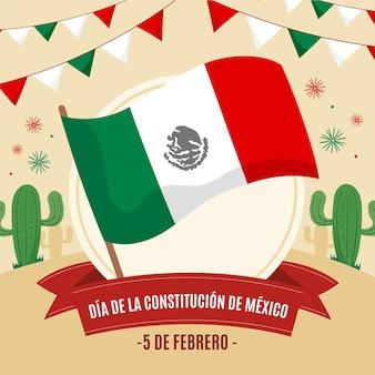 Bandera dibujada a mano del día de la constitución