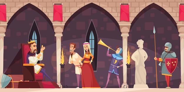 Bandera de dibujos animados interiores del castillo medieval con rey en el trono señor dama caballero guardia cuerno soplador