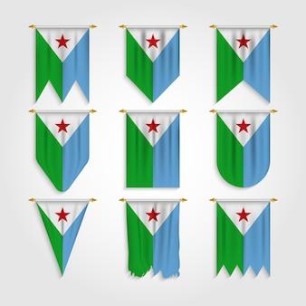 Bandera de djibouti en diferentes formas, bandera de djibouti en varias formas