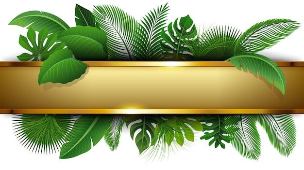 Bandera dorada con espacio de texto de tropical leave
