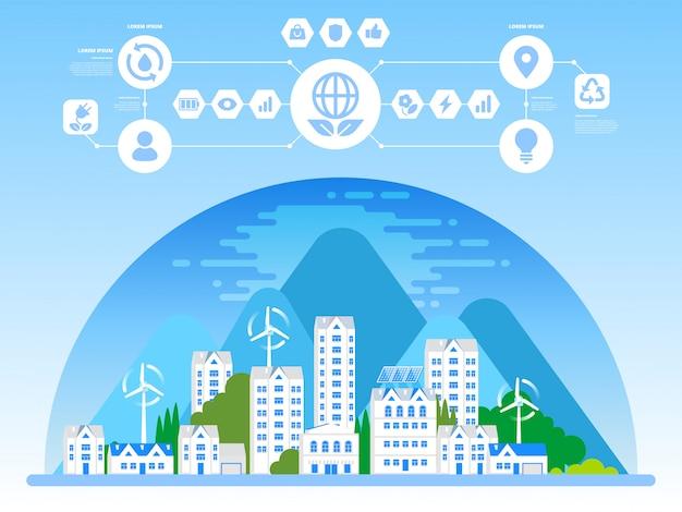Bandera de eco ciudad verde y arquitectura sostenible