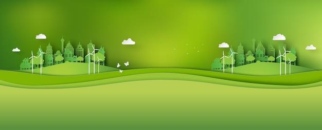 Bandera de ecología y medio ambiente con ciudad verde. arte en papel y estilo artesanal digital.