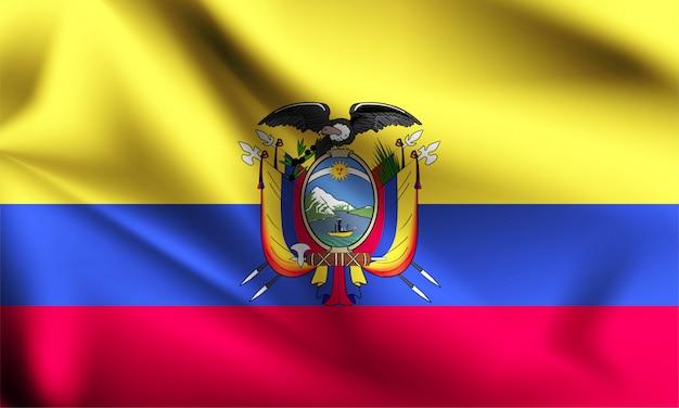 Bandera de ecuador ondeando al viento.