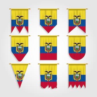 Bandera de ecuador en varias formas