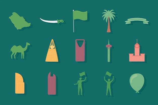 Bandera y edificios sauditas