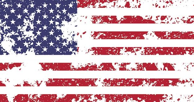 Bandera de ee. uu., estados unidos de américa con proporciones y colores oficiales, vintage, textura granulada