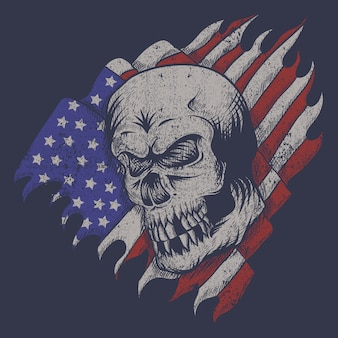 Bandera de los eeuu del cráneo
