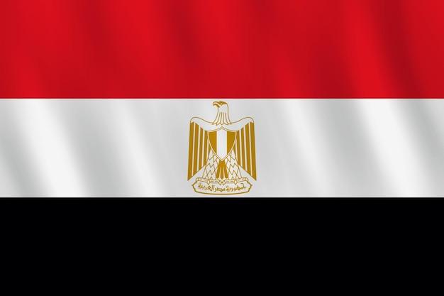 Bandera de egipto con efecto ondulado, proporción oficial.