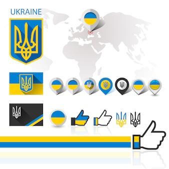 Bandera, emblema de ucrania y mapa mundial