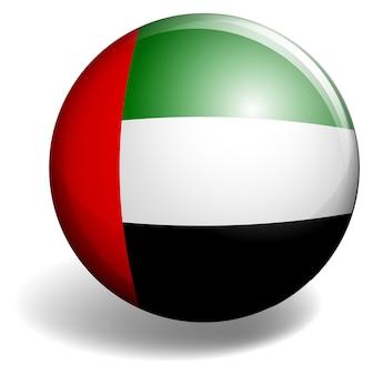 Bandera de los emiratos árabes unidos en placa redonda