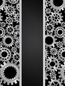 Bandera de engranajes abstractos sobre fondo negro