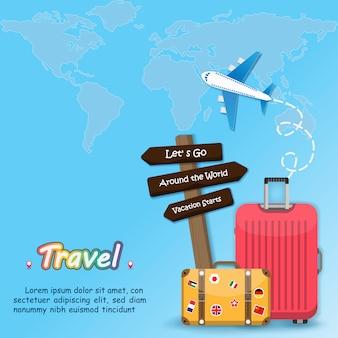 Bandera de equipaje de viaje alrededor del mundo.